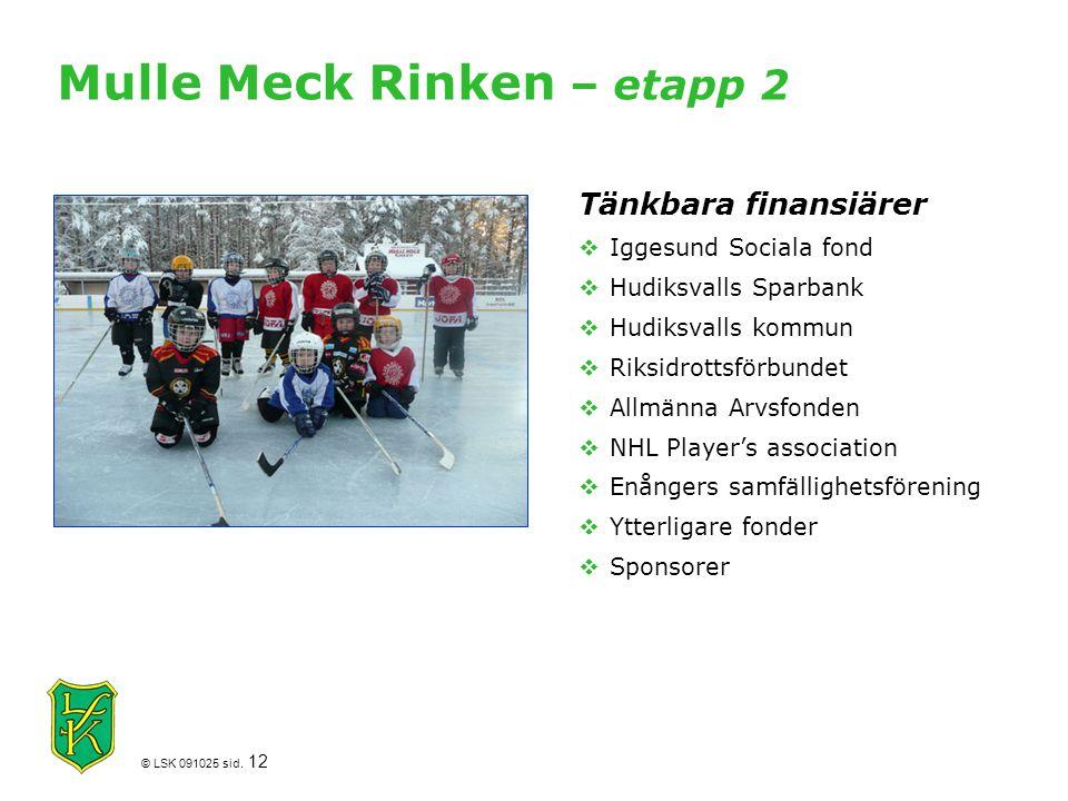 © LSK 091025 sid. 12 Mulle Meck Rinken – etapp 2 Tänkbara finansiärer  Iggesund Sociala fond  Hudiksvalls Sparbank  Hudiksvalls kommun  Riksidrott
