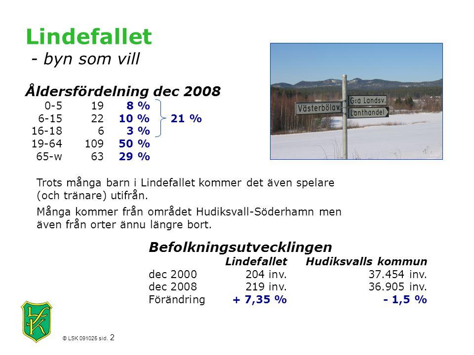 © LSK 091025 sid. 2 Befolkningsutvecklingen LindefalletHudiksvalls kommun dec 2000204 inv.37.454 inv. dec 2008219 inv.36.905 inv. Förändring+ 7,35 %-