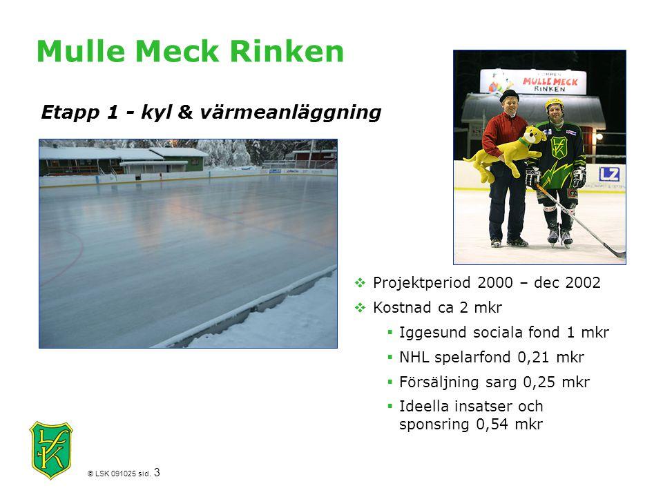 © LSK 091025 sid. 3 Mulle Meck Rinken  Projektperiod 2000 – dec 2002  Kostnad ca 2 mkr  Iggesund sociala fond 1 mkr  NHL spelarfond 0,21 mkr  För