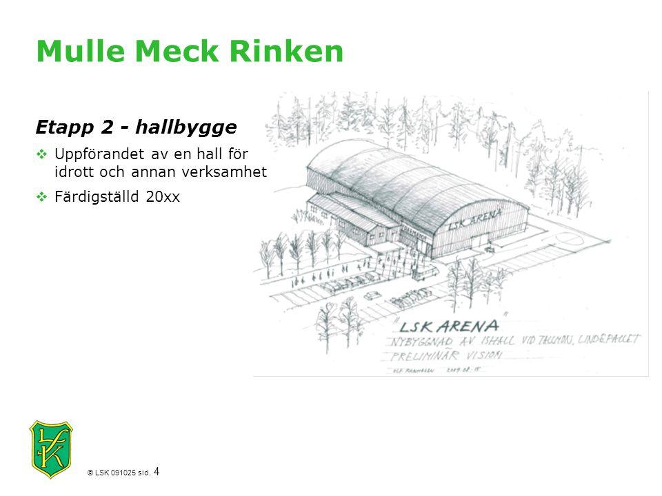 © LSK 091025 sid. 4 Mulle Meck Rinken Etapp 2 - hallbygge  Uppförandet av en hall för idrott och annan verksamhet  Färdigställd 20xx