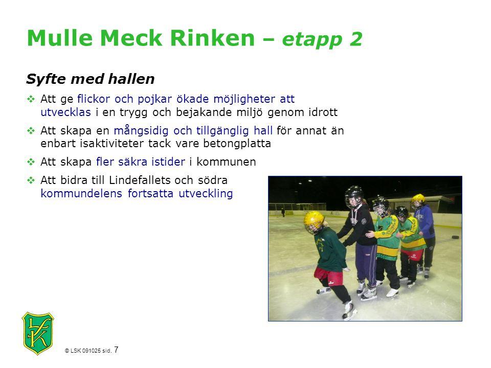 © LSK 091025 sid. 7 Mulle Meck Rinken – etapp 2 Syfte med hallen  Att ge flickor och pojkar ökade möjligheter att utvecklas i en trygg och bejakande