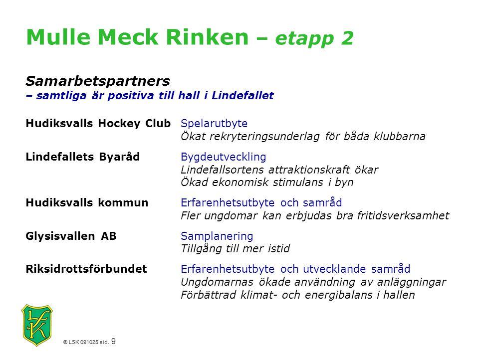 © LSK 091025 sid. 9 Mulle Meck Rinken – etapp 2 Samarbetspartners – samtliga är positiva till hall i Lindefallet Hudiksvalls Hockey ClubSpelarutbyte Ö