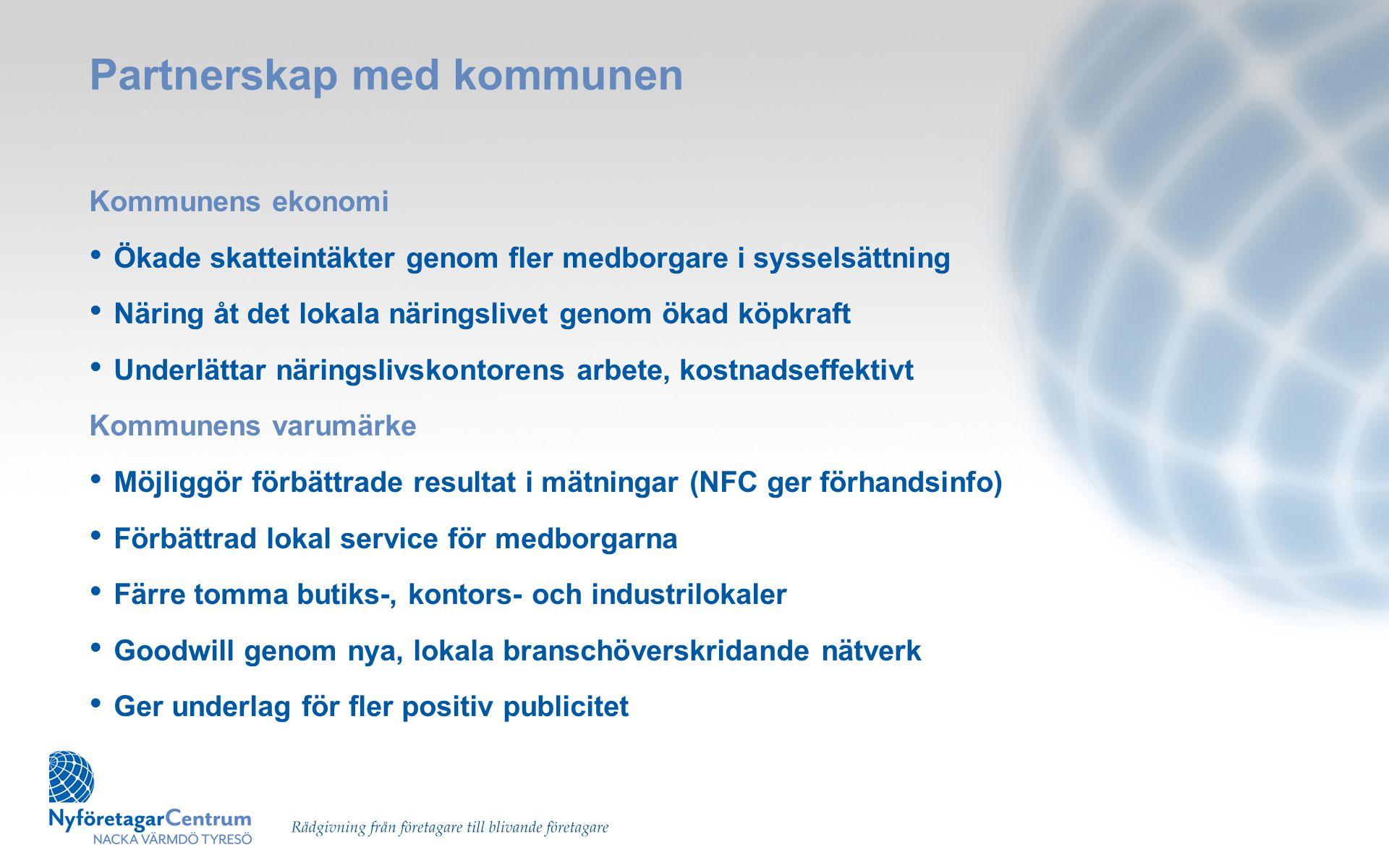 Partnerskap med kommunen Kommunens ekonomi • Ökade skatteintäkter genom fler medborgare i sysselsättning • Näring åt det lokala näringslivet genom öka