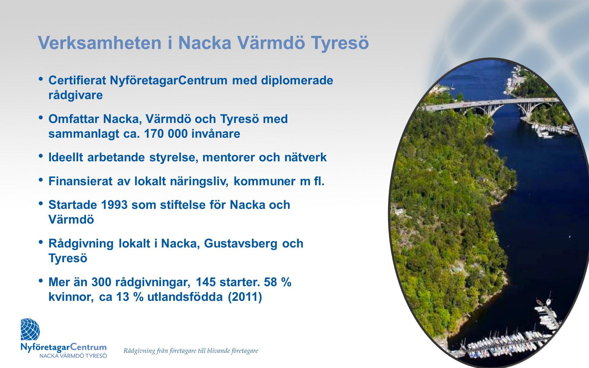 Verksamheten i Nacka Värmdö Tyresö • Certifierat NyföretagarCentrum med diplomerade rådgivare • Omfattar Nacka, Värmdö och Tyresö med sammanlagt ca. 1
