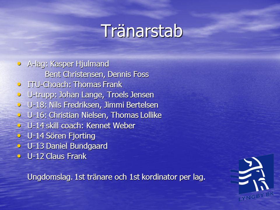 Tränarstab • A-lag: Kasper Hjulmand Bent Christensen, Dennis Foss • ITU-Choach: Thomas Frank • U-trupp: Johan Lange, Troels Jensen • U-18: Nils Fredri