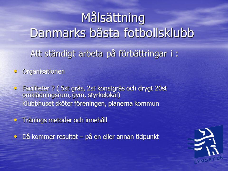 Målsättning Danmarks bästa fotbollsklubb Målsättning Danmarks bästa fotbollsklubb Att ständigt arbeta på förbättringar i : Att ständigt arbeta på förb