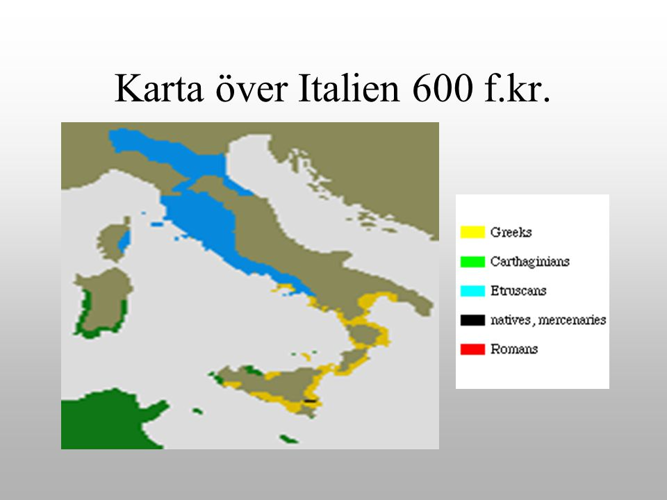Karta över Italien 600 f.kr.