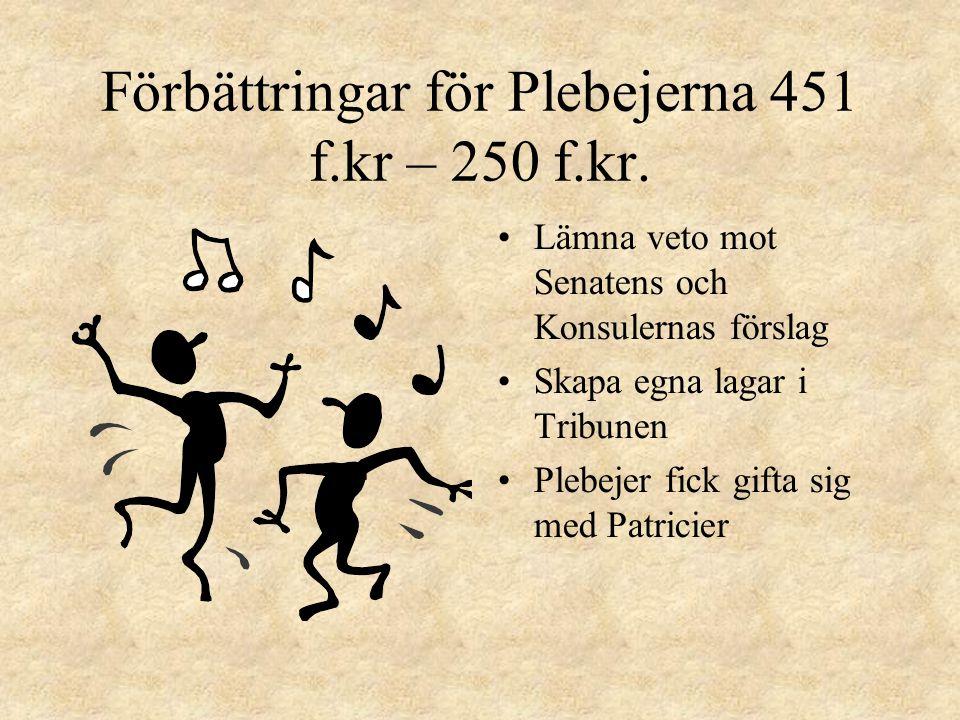 Förbättringar för Plebejerna 451 f.kr – 250 f.kr.
