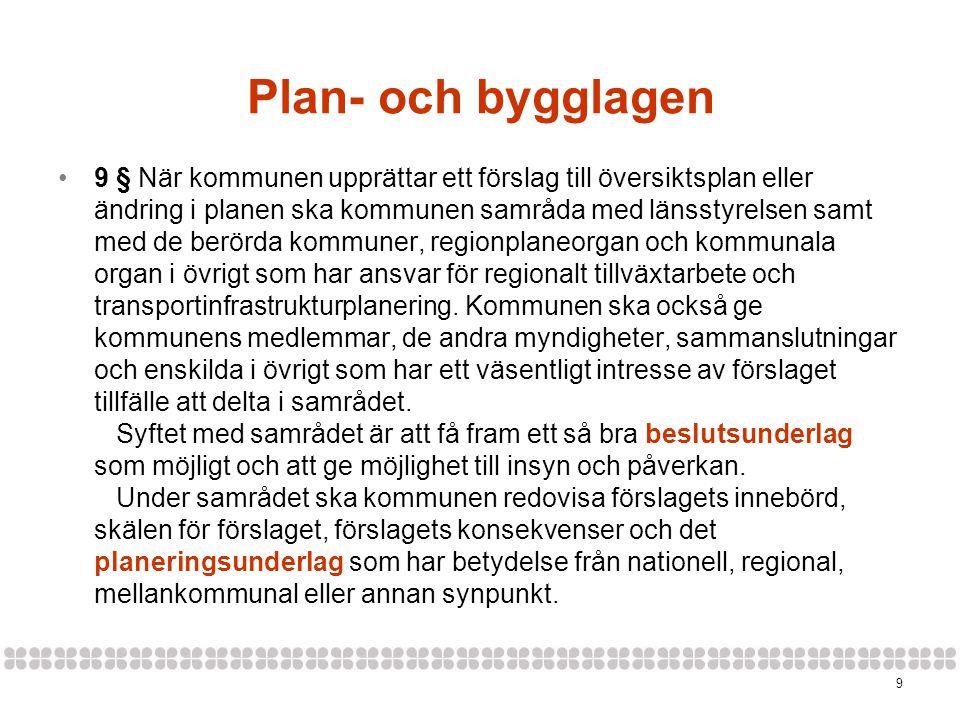 9 Plan- och bygglagen •9 § När kommunen upprättar ett förslag till översiktsplan eller ändring i planen ska kommunen samråda med länsstyrelsen samt med de berörda kommuner, regionplaneorgan och kommunala organ i övrigt som har ansvar för regionalt tillväxtarbete och transportinfrastrukturplanering.