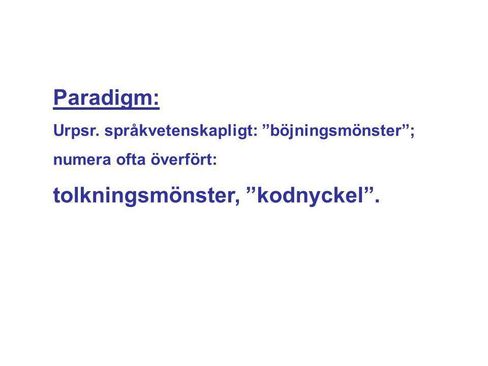 """Paradigm: Urpsr. språkvetenskapligt: """"böjningsmönster""""; numera ofta överfört: tolkningsmönster, """"kodnyckel""""."""