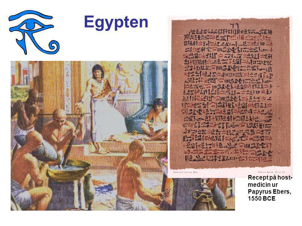 Egypten Recept på host- medicin ur Papyrus Ebers, 1550 BCE