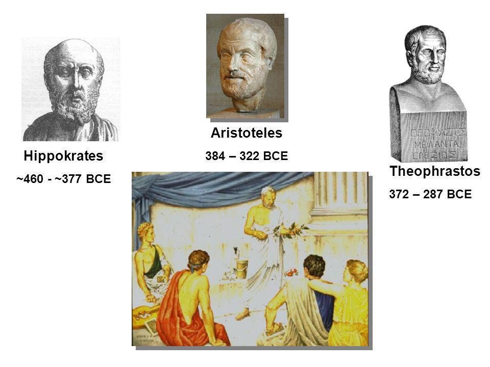 Theophrastos 372 – 287 BCE Aristoteles 384 – 322 BCE Hippokrates ~460 - ~377 BCE