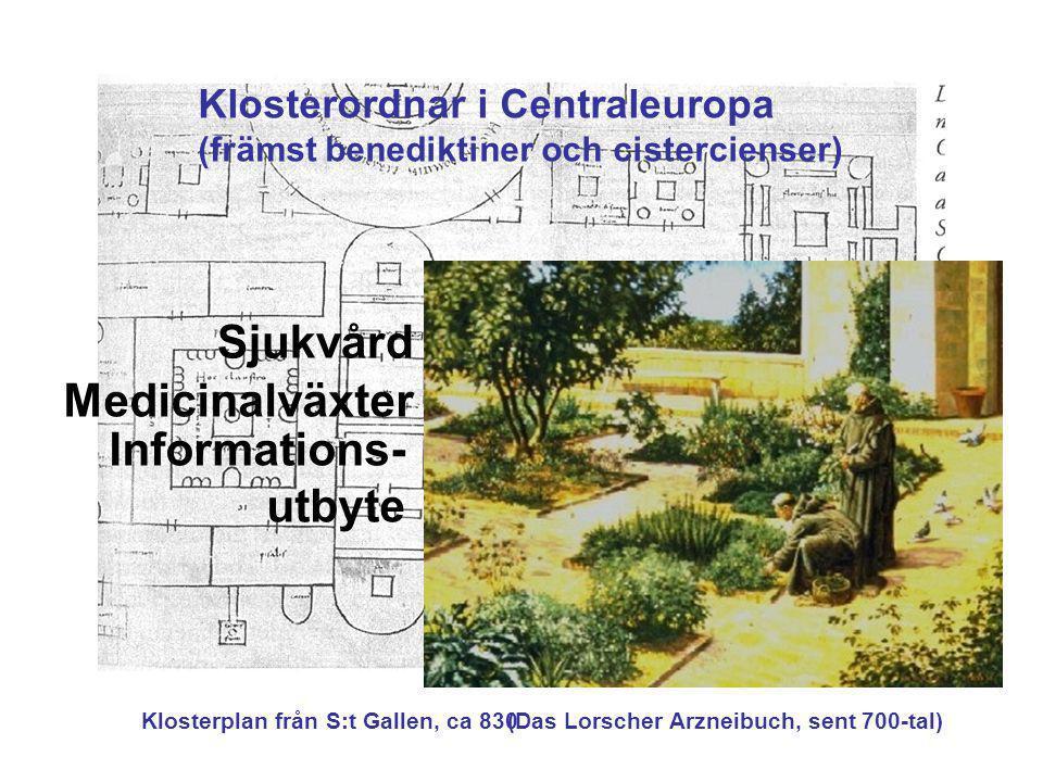 Klosterplan från S:t Gallen, ca 830(Das Lorscher Arzneibuch, sent 700-tal) Klosterordnar i Centraleuropa (främst benediktiner och cistercienser) Sjukv
