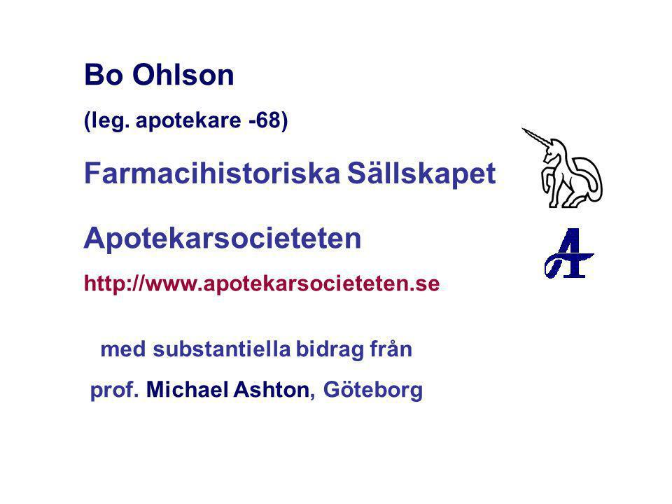 Bo Ohlson (leg. apotekare -68) Farmacihistoriska Sällskapet Apotekarsocieteten http://www.apotekarsocieteten.se med substantiella bidrag från prof. Mi