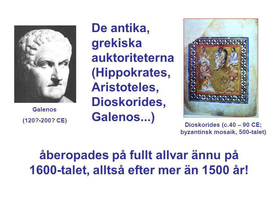 De antika, grekiska auktoriteterna (Hippokrates, Aristoteles, Dioskorides, Galenos...) åberopades på fullt allvar ännu på 1600-talet, alltså efter mer
