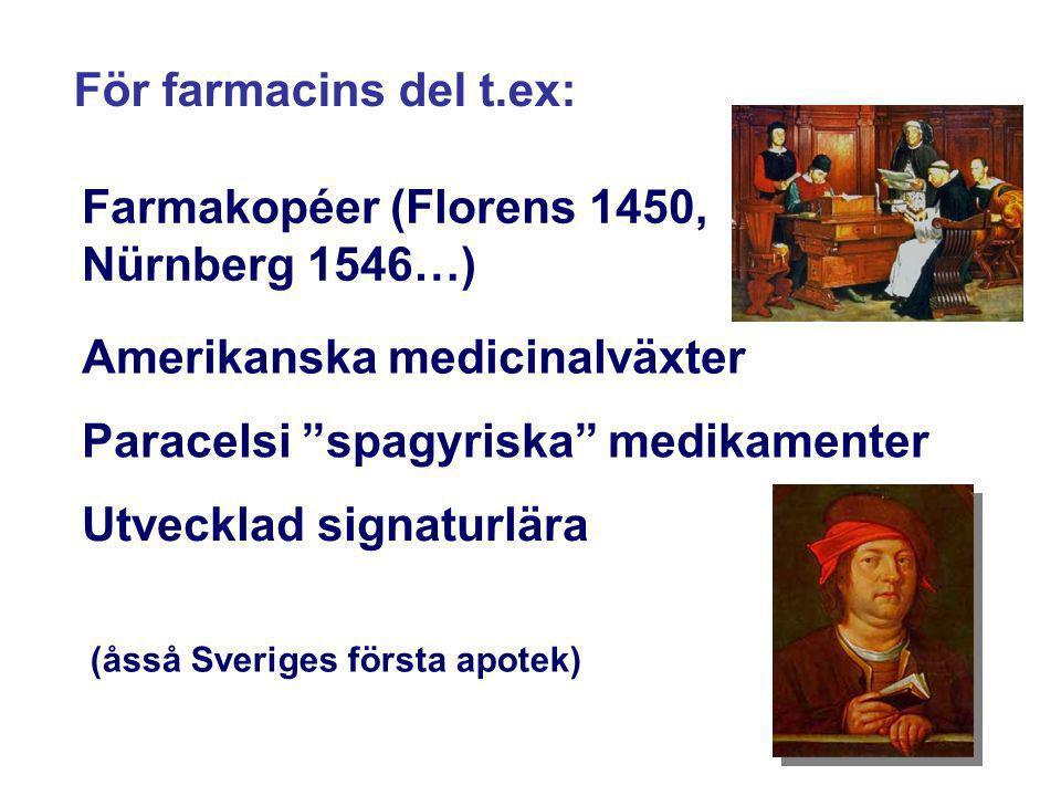 """För farmacins del t.ex: Farmakopéer (Florens 1450, Nürnberg 1546…) Paracelsi """"spagyriska"""" medikamenter Utvecklad signaturlära (åsså Sveriges första ap"""