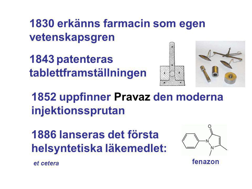 1830 erkänns farmacin som egen vetenskapsgren 1843 patenteras tablettframställningen 1852 uppfinner Pravaz den moderna injektionssprutan 1886 lanseras