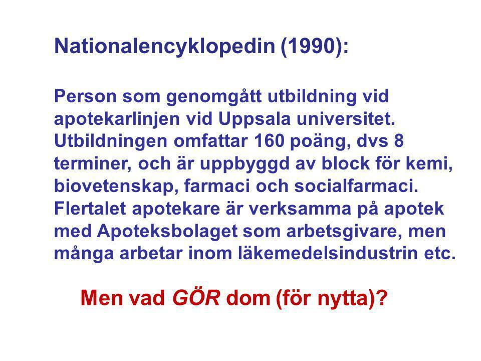 Nationalencyklopedin (1990): Person som genomgått utbildning vid apotekarlinjen vid Uppsala universitet. Utbildningen omfattar 160 poäng, dvs 8 termin