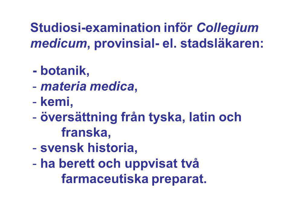 Studiosi-examination inför Collegium medicum, provinsial- el. stadsläkaren: - botanik, - materia medica, - kemi, - översättning från tyska, latin och