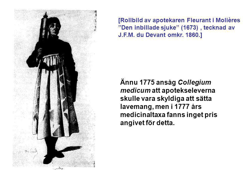 """[Rollbild av apotekaren Fleurant i Molières """"Den inbillade sjuke"""" (1673), tecknad av J.F.M. du Devant omkr. 1860.] Ännu 1775 ansåg Collegium medicum a"""