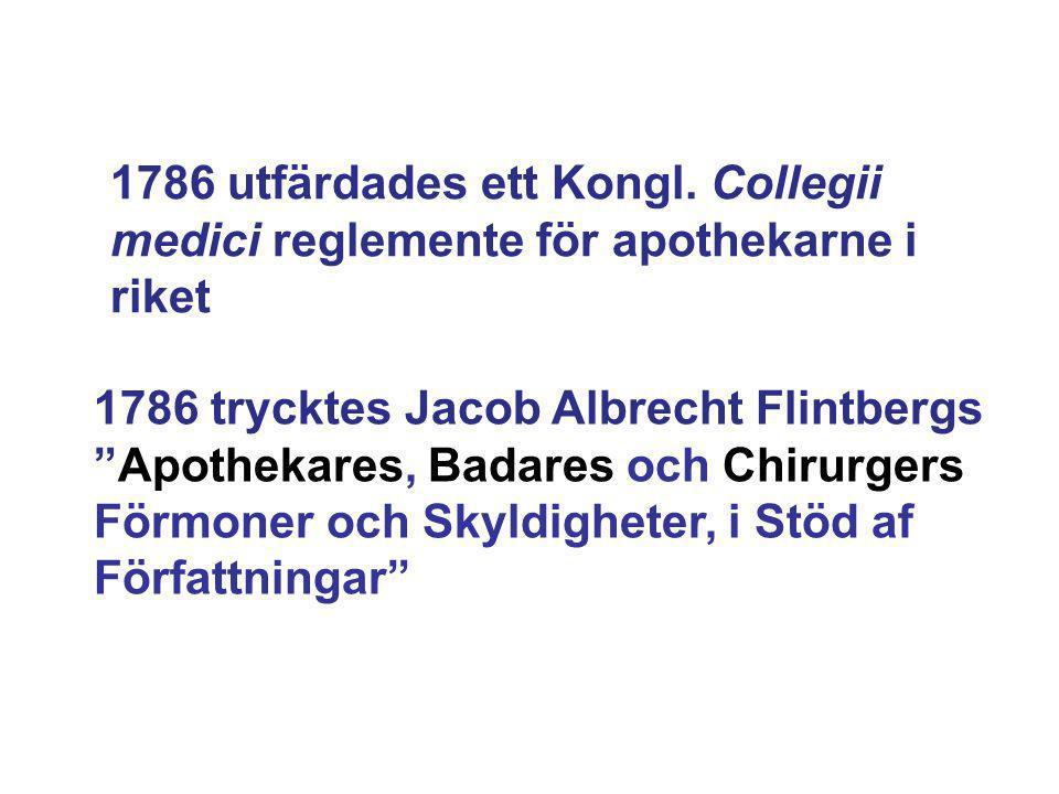 """1786 utfärdades ett Kongl. Collegii medici reglemente för apothekarne i riket 1786 trycktes Jacob Albrecht Flintbergs """"Apothekares, Badares och Chirur"""