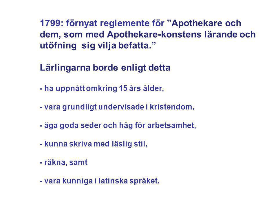 """1799: förnyat reglemente för """"Apothekare och dem, som med Apothekare-konstens lärande och utöfning sig vilja befatta."""" Lärlingarna borde enligt detta"""