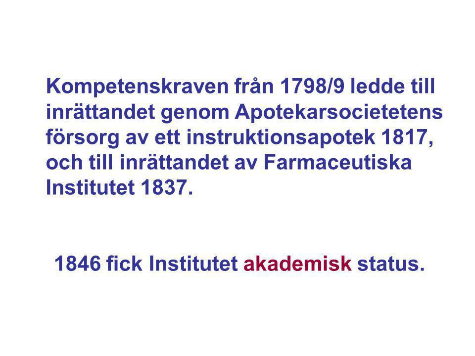 Kompetenskraven från 1798/9 ledde till inrättandet genom Apotekarsocietetens försorg av ett instruktionsapotek 1817, och till inrättandet av Farmaceut