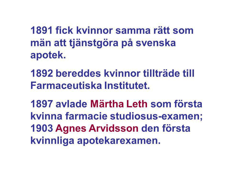 1891 fick kvinnor samma rätt som män att tjänstgöra på svenska apotek. 1892 bereddes kvinnor tillträde till Farmaceutiska Institutet. 1897 avlade Märt