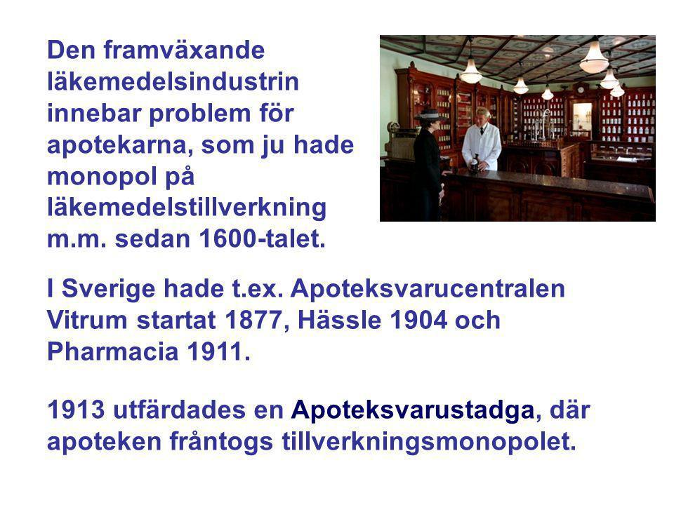 Den framväxande läkemedelsindustrin innebar problem för apotekarna, som ju hade monopol på läkemedelstillverkning m.m. sedan 1600-talet. I Sverige had