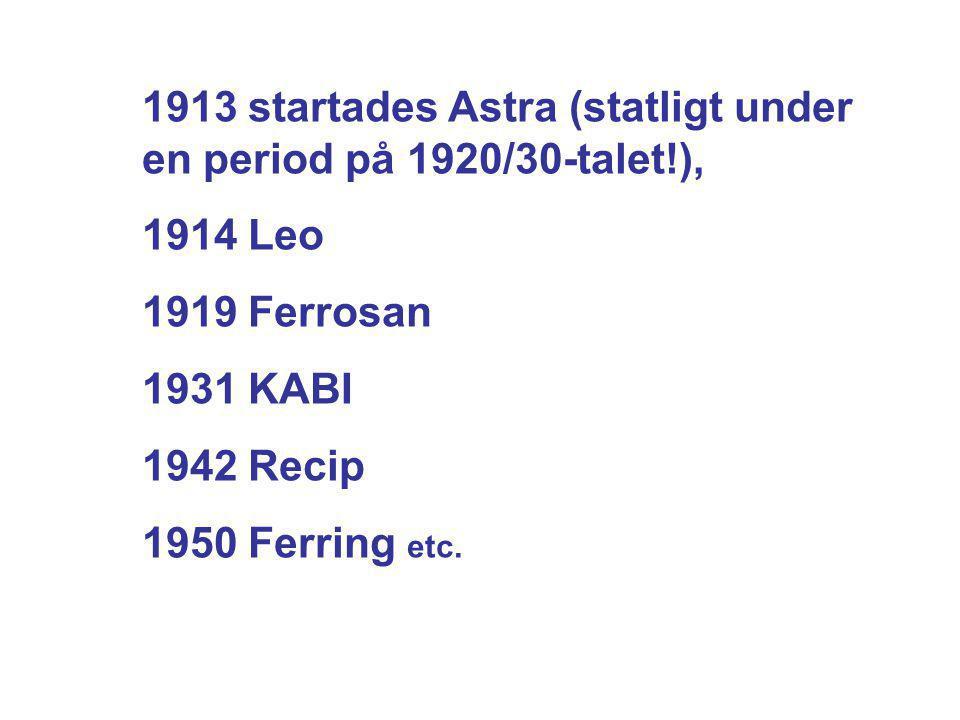 1913 startades Astra (statligt under en period på 1920/30-talet!), 1914 Leo 1919 Ferrosan 1931 KABI 1942 Recip 1950 Ferring etc.
