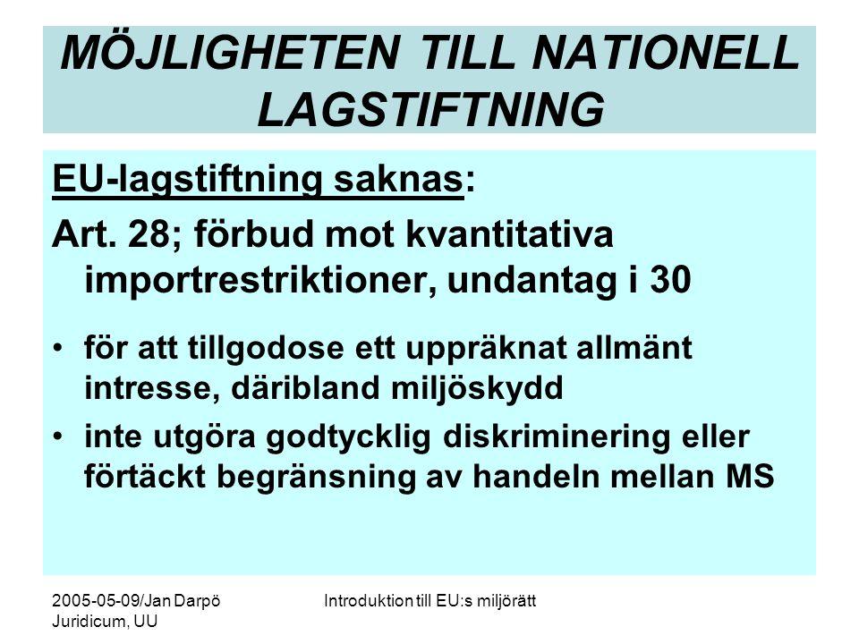 2005-05-09/Jan Darpö Juridicum, UU Introduktion till EU:s miljörätt MÖJLIGHETEN TILL NATIONELL LAGSTIFTNING EU-lagstiftning saknas: Art. 28; förbud mo