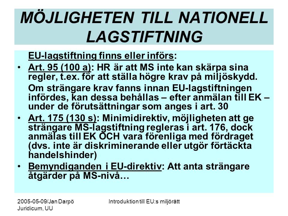 2005-05-09/Jan Darpö Juridicum, UU Introduktion till EU:s miljörätt MÖJLIGHETEN TILL NATIONELL LAGSTIFTNING EU-lagstiftning finns eller införs: •Art.