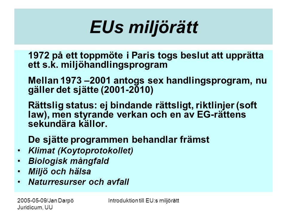 2005-05-09/Jan Darpö Juridicum, UU Introduktion till EU:s miljörätt EUs miljörätt 1972 på ett toppmöte i Paris togs beslut att upprätta ett s.k. miljö