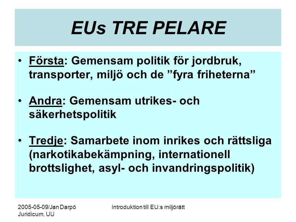 2005-05-09/Jan Darpö Juridicum, UU Introduktion till EU:s miljörätt EUs TRE PELARE •Första: Gemensam politik för jordbruk, transporter, miljö och de