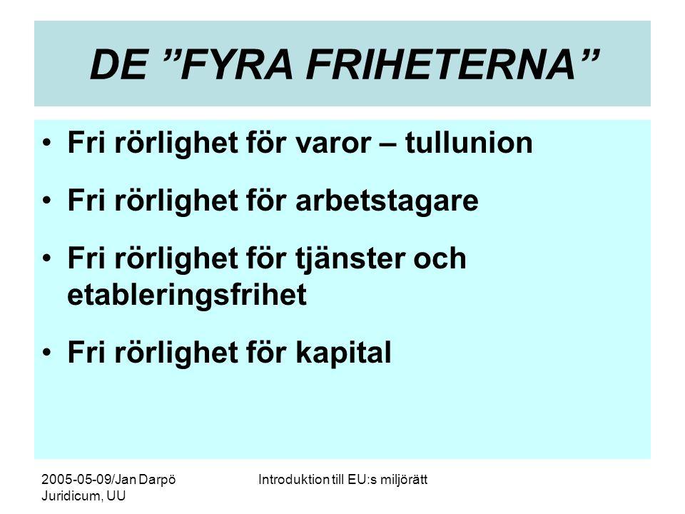 2005-05-09/Jan Darpö Juridicum, UU Introduktion till EU:s miljörätt DE FYRA FRIHETERNA •Fri rörlighet för varor – tullunion •Fri rörlighet för arbetstagare •Fri rörlighet för tjänster och etableringsfrihet •Fri rörlighet för kapital
