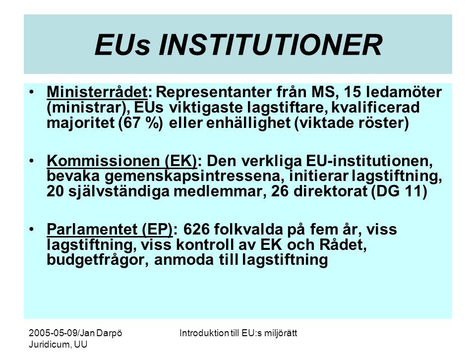 2005-05-09/Jan Darpö Juridicum, UU Introduktion till EU:s miljörätt EUs INSTITUTIONER •Ministerrådet: Representanter från MS, 15 ledamöter (ministrar), EUs viktigaste lagstiftare, kvalificerad majoritet (67 %) eller enhällighet (viktade röster) •Kommissionen (EK): Den verkliga EU-institutionen, bevaka gemenskapsintressena, initierar lagstiftning, 20 självständiga medlemmar, 26 direktorat (DG 11) •Parlamentet (EP): 626 folkvalda på fem år, viss lagstiftning, viss kontroll av EK och Rådet, budgetfrågor, anmoda till lagstiftning