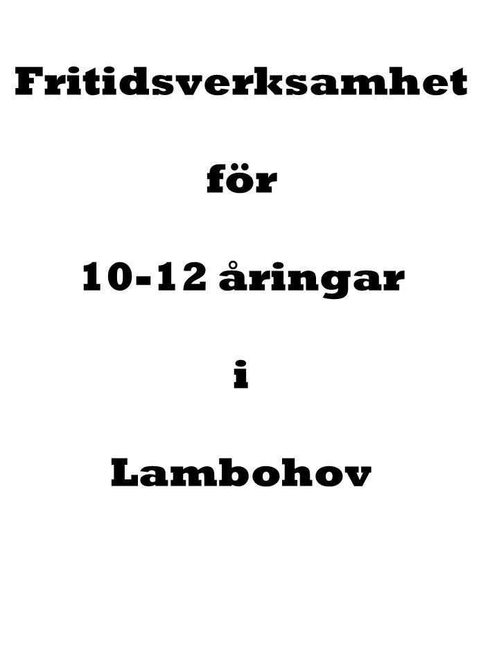 21:an Fritidsverksamhet för 10-12 åringar i Lambohov
