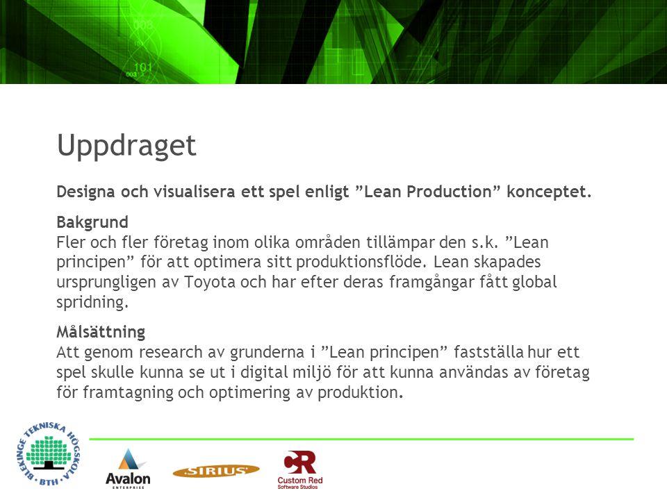 """Uppdraget Designa och visualisera ett spel enligt """"Lean Production"""" konceptet. Bakgrund Fler och fler företag inom olika områden tillämpar den s.k. """"L"""
