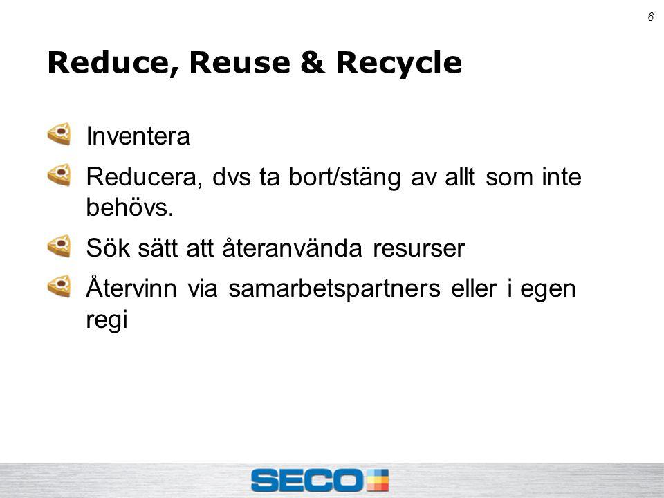 6 Reduce, Reuse & Recycle Inventera Reducera, dvs ta bort/stäng av allt som inte behövs.