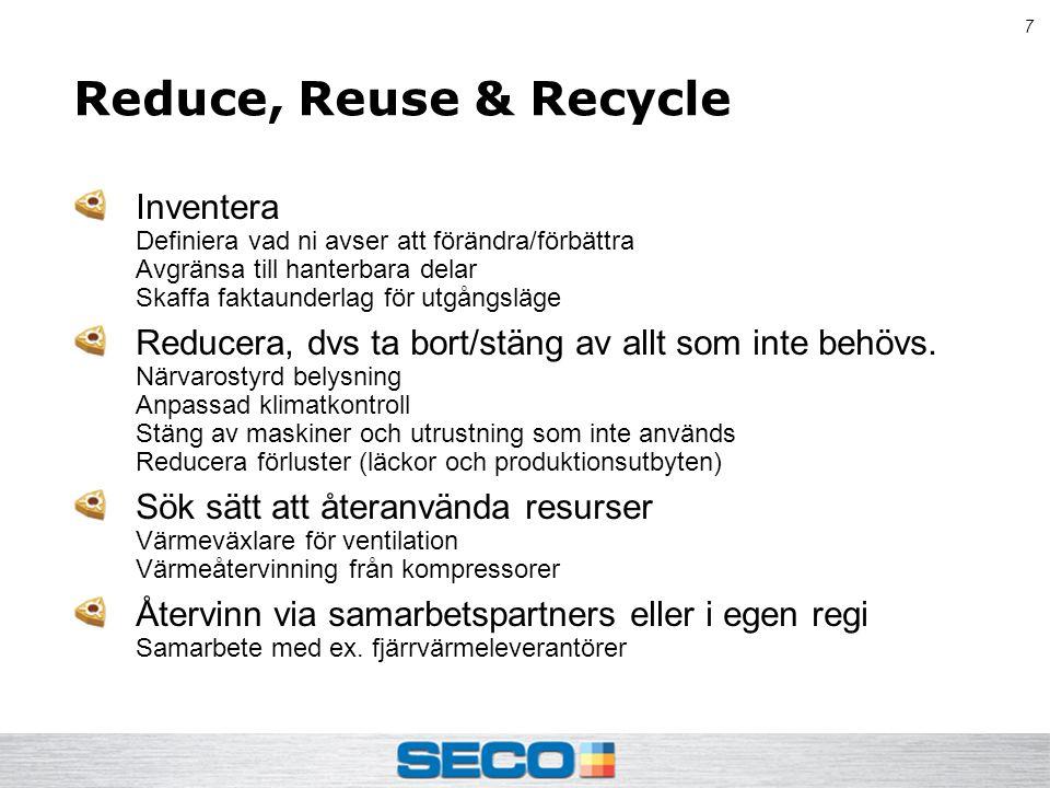 7 Reduce, Reuse & Recycle Inventera Definiera vad ni avser att förändra/förbättra Avgränsa till hanterbara delar Skaffa faktaunderlag för utgångsläge Reducera, dvs ta bort/stäng av allt som inte behövs.