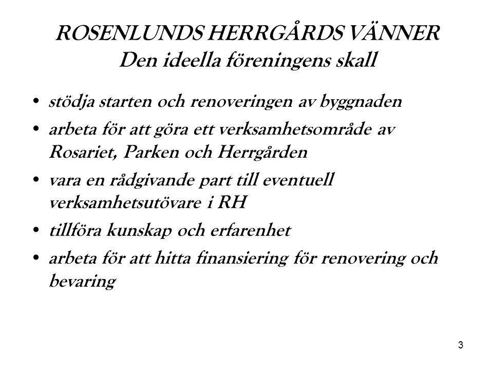 4 ROSENLUNDS HERRGÅRDS VÄNNER Den ideella föreningens medlemmar Till medlem i RHVs antas personer och intresserade, som vill se ett bevarande av RH med tillgänglighet för allmänheten.