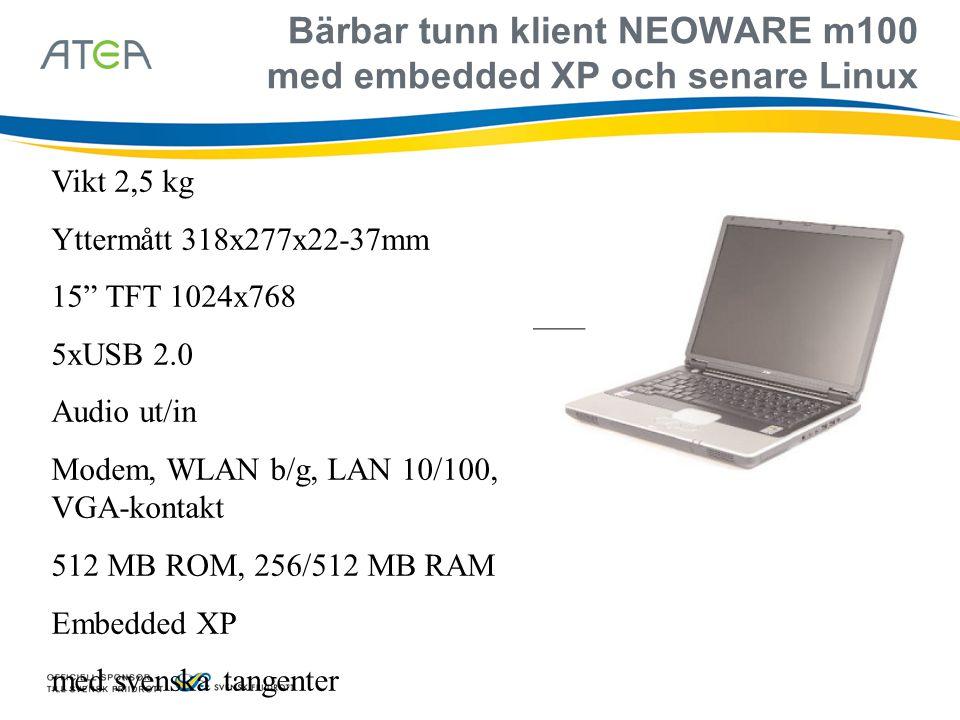 """Bärbar tunn klient NEOWARE m100 med embedded XP och senare Linux Vikt 2,5 kg Yttermått 318x277x22-37mm 15"""" TFT 1024x768 5xUSB 2.0 Audio ut/in Modem, W"""