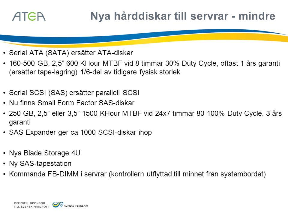 """Nya hårddiskar till servrar - mindre • Serial ATA (SATA) ersätter ATA-diskar • 160-500 GB, 2,5"""" 600 KHour MTBF vid 8 timmar 30% Duty Cycle, oftast 1 å"""