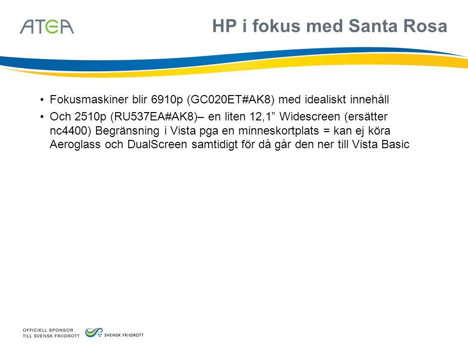 """HP i fokus med Santa Rosa • Fokusmaskiner blir 6910p (GC020ET#AK8) med idealiskt innehåll • Och 2510p (RU537EA#AK8)– en liten 12,1"""" Widescreen (ersätt"""