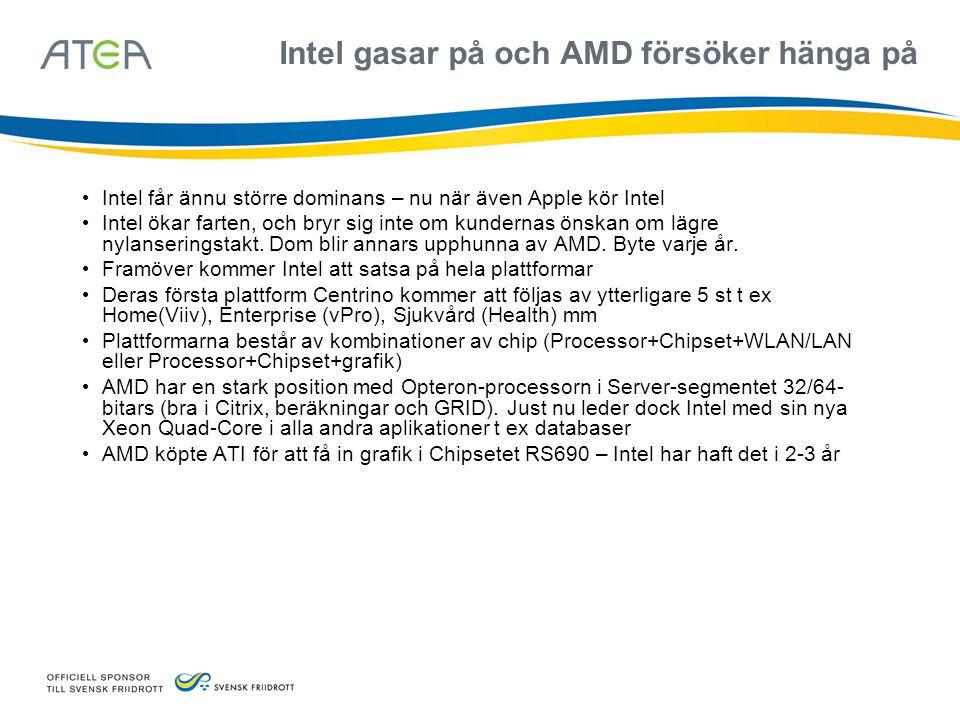 Nya Intel Xeon servrar presterar mer än AMD Opteron – just nu • Intels nya Xeon 7300 med Quad Core har lanserats i t ex HPs nya servrar • Även i Blades • mer prestanda • Lägre strömförbrukning (ca 500 kr/år/server) • 2x4 MB L2-cache • Det kommer Intel Quadcore-processorer även i low-end Workstations Q6600 • AMDs nya Opteron Barcelona (4 kärnor på en platta) beräknas överträffa Intels 7300 och lanseras hösten 2007 • Intel kommer strax efter med nya Harperton som beräknas överträffa AMDs Barcelona • Intel och AMD kommer växelvis att ha högst prestanda under de närmsta åren