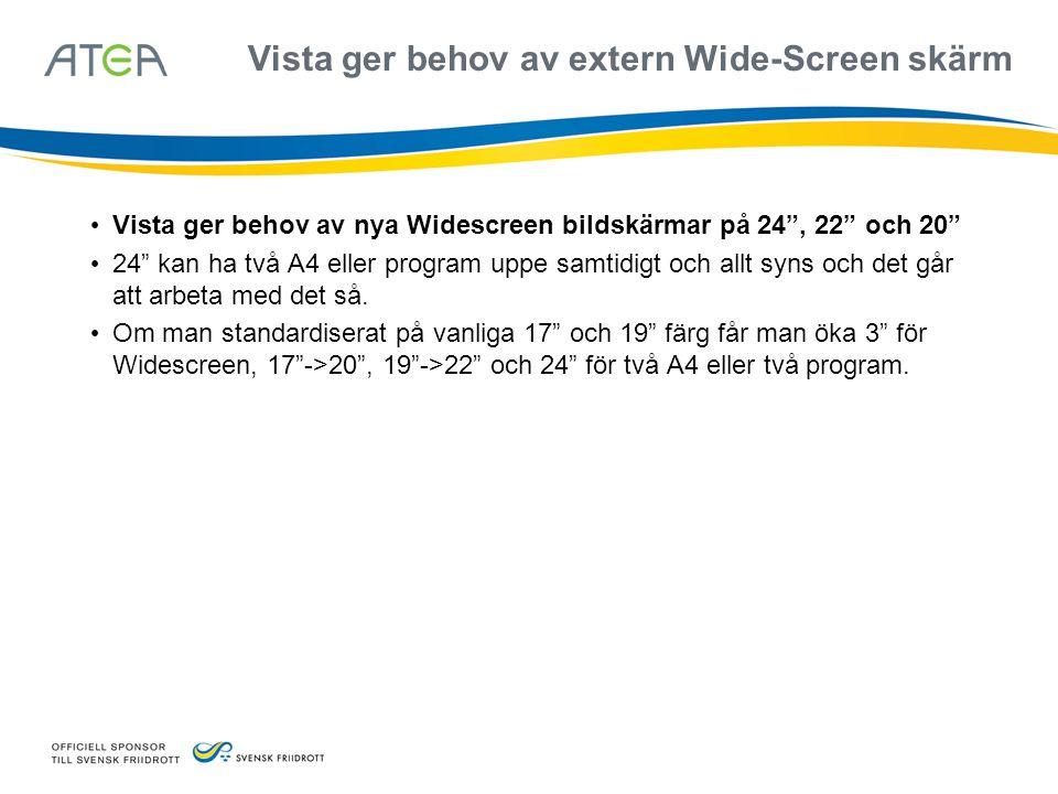 """Vista ger behov av extern Wide-Screen skärm • Vista ger behov av nya Widescreen bildskärmar på 24"""", 22"""" och 20"""" • 24"""" kan ha två A4 eller program uppe"""
