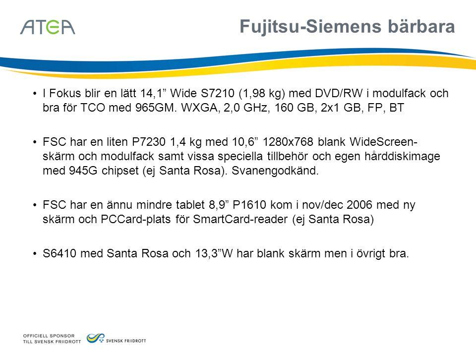 """Fujitsu-Siemens bärbara • I Fokus blir en lätt 14,1"""" Wide S7210 (1,98 kg) med DVD/RW i modulfack och bra för TCO med 965GM. WXGA, 2,0 GHz, 160 GB, 2x1"""