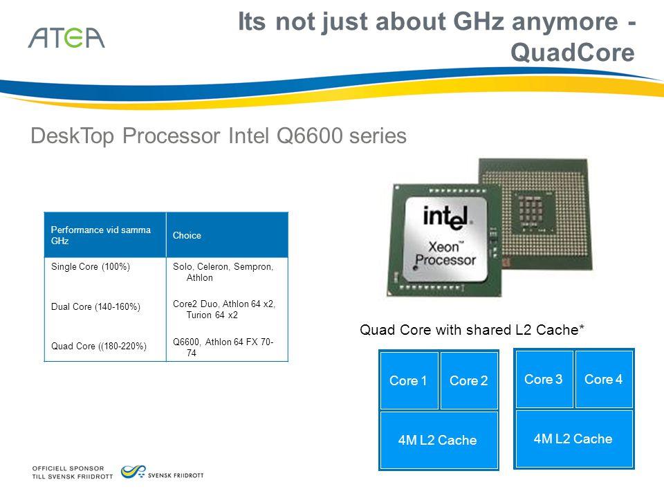 Nya hårddiskar till servrar - mindre • Serial ATA (SATA) ersätter ATA-diskar • 160-500 GB, 2,5 600 KHour MTBF vid 8 timmar 30% Duty Cycle, oftast 1 års garanti (ersätter tape-lagring) 1/6-del av tidigare fysisk storlek • Serial SCSI (SAS) ersätter parallell SCSI • Nu finns Small Form Factor SAS-diskar • 250 GB, 2,5 eller 3,5 1500 KHour MTBF vid 24x7 timmar 80-100% Duty Cycle, 3 års garanti • SAS Expander ger ca 1000 SCSI-diskar ihop • Nya Blade Storage 4U • Ny SAS-tapestation • Kommande FB-DIMM i servrar (kontrollern utflyttad till minnet från systembordet)