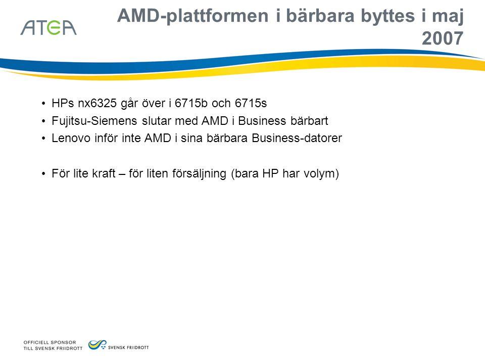 AMD-plattformen i bärbara byttes i maj 2007 • HPs nx6325 går över i 6715b och 6715s • Fujitsu-Siemens slutar med AMD i Business bärbart • Lenovo inför
