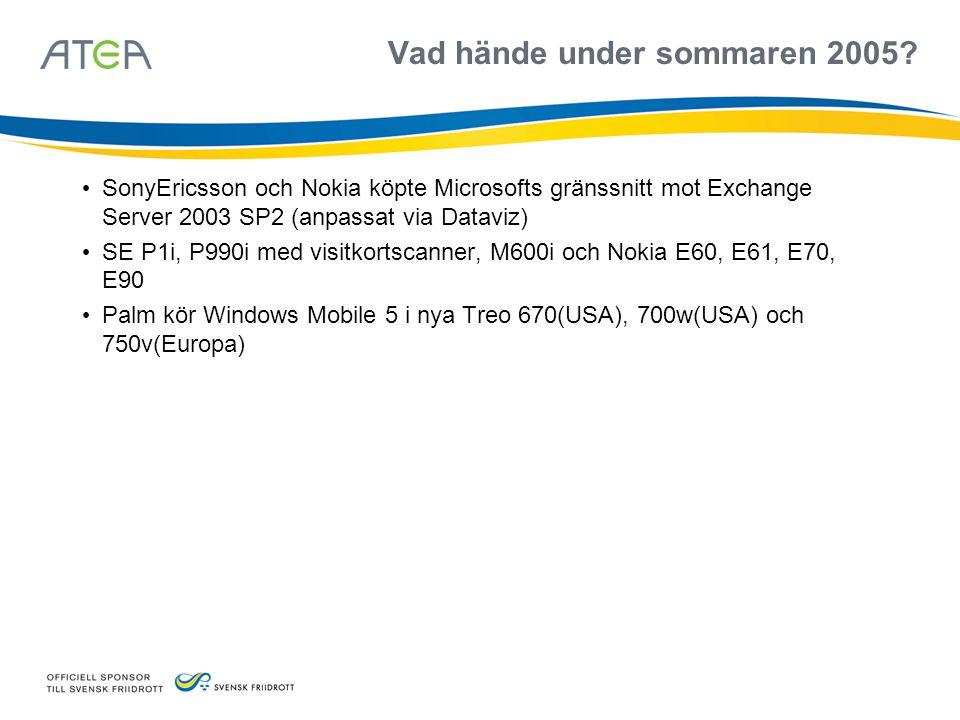Vad hände under sommaren 2005? • SonyEricsson och Nokia köpte Microsofts gränssnitt mot Exchange Server 2003 SP2 (anpassat via Dataviz) • SE P1i, P990
